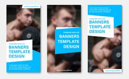 Set of vector web banners with place for photo, white and blue design elements for text. Universal templates for sports or business advertising vector illustration