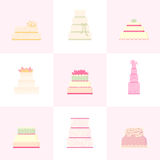Set vector of wedding cakes. Royalty Free Stock Image
