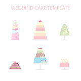 Set vector of wedding cakes. Stock Photos