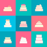 Set vector of wedding cakes. Stock Image