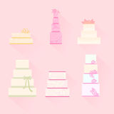 Set vector of wedding cakes. Royalty Free Stock Photos