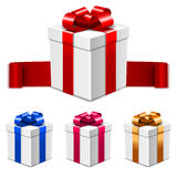Set of vector white gift boxes with bows in different colors  on white Royalty Free Stock Photo