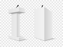 Set of Vector White Podium Tribune Rostrum Stand with Microphones Isolated. On checkered background Royalty Free Stock Photography