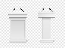 Set of Vector White Podium Tribune Rostrum Stand with Microphones Isolated. On checkered background Stock Photo