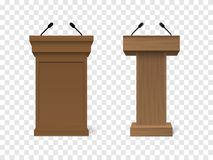 Set of Vector White Podium Tribune Rostrum Stand with Microphones. On checkered background Royalty Free Stock Images