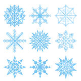 Set of vector white snowflakes. Fine winter ornament. Snowflakes collection for backgrounds and designs Royalty Free Stock Photography