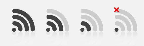 Set of vector wi-fi icons with different signal received. Layers. Grouped for easy editing illustration. For your design royalty free illustration