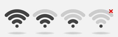 Set of vector wi-fi icons with different signal received. Layers. Grouped for easy editing illustration. For your design stock illustration