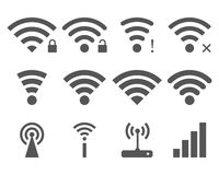 Set of vector Wi-Fi and Wireless icons Royalty Free Stock Photo