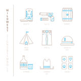 Set of vector wild west icons and concepts in mono thin line style Royalty Free Stock Photos