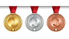 Set of vector winner medals golden silver bronze for champions with red ribbon, signs of first, second and third place, isolated. Mockup on white background stock illustration