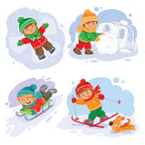 Set vector winter icons with little children vector illustration