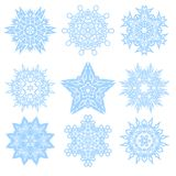 Set of Vector Winter Snowflakes for Christmas Royalty Free Stock Photography