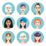 Set of vector women characters Stock Photography