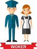 Set of vector  worker man and  worker woman Stock Photos