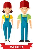 Set of vector  worker man and  worker woman. Vector illustration of a vector worker man and  worker woman Stock Photo