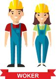 Set of vector  worker man and  worker woman. Vector illustration of a vector worker man and  worker woman Stock Image