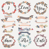 Set of vector wreath, flowers, ribbons, banners in pastel colors Stock Photography