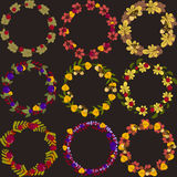 Set of vector wreaths with autumn leaves berries and acorns vect Royalty Free Stock Image