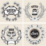 Set vector wreaths of rye and hops for beer Royalty Free Stock Photography