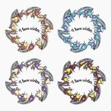 Set of vector wreaths on a winter theme. stock images