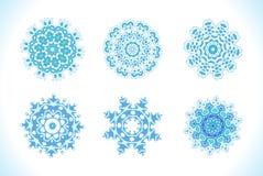 Set of vectors snowflakes. Royalty Free Stock Photo
