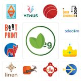 Set of veg, sagittarius, fire station, antelope, linen, royal, french bulldog, telecom, boot print icons. Set Of 13 simple editable icons such as veg Stock Photo