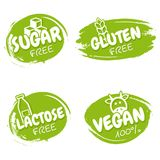 Set of vegan badges. Gluten, lactose, sugar free logo design templates. Healthy and natural.  stock illustration