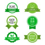 Set of vegan badges, icons, labels. Organic, healthy food logos for cafe, restaurants, products packaging. Vector. Set of vegan badges, icons, labels. Organic Stock Photo