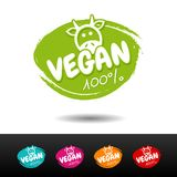 Set of 100% vegan badges. Vector hand drawn labels. Health Industry Stock Photo