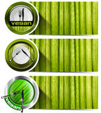 Set of Vegan Banners with Plates Royalty Free Stock Photography