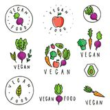Set of vegan food badges. Different vegetables. Vector hand drawn signs Stock Images