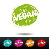 Set of vegan food badges. Vector hand drawn labels. royalty free illustration