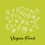 Set of the vegan food icons. Vegetables and fruits. Thin line icons. Hand drawn typography. Royalty Free Stock Photo