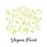 Set of the vegan food icons. Vegetables and fruits. Thin line icons. Hand drawn typography. Royalty Free Stock Photos