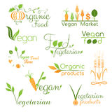 Set of vegan food logo Royalty Free Stock Photos