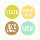 Set of vegan labels for product package Stock Photos