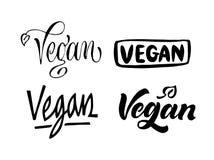Set of Vegan lettering. Hand drawn calligraphy inscriptions. Brush pen modern text. Vegeterian Vegan organic life-style concept. vector illustration