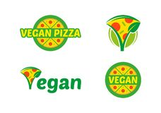 Set vegan pizza logo. Vegan food logo mascot icon vector set design. Green logo isolated white background. Healthy fresh light eco vegetarian 100 natural vegan Stock Photo