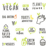 Set of vegan text signs. Royalty Free Stock Photo