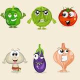 Set of vegetable cartoon characters. Stock Photo