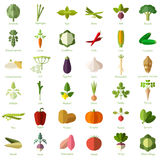 Set of vegetable flat icons Royalty Free Stock Photography