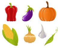 Set of vegetable icons. Cute set of cartoon vegetable icons Stock Photo