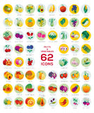 Set of vegetable icons. Collection of 62 round icons, fruit and vegetable symbols with names. Symbols of healthy nutrition and lifestyle stock illustration