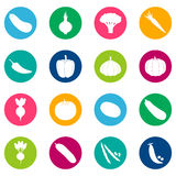 Set of vegetable icons on color background, illustration Royalty Free Stock Photos