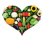 Set of vegetable icons forming heart shape. Royalty Free Stock Images