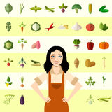 Set of vegetable icons and a gardener woman Stock Photos