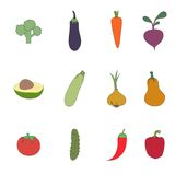 Set of vegetable icons Stock Photo