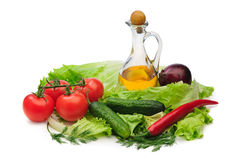 Set vegetable and jug of vegetable oil Stock Photos