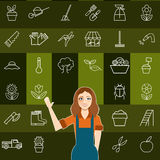 Set of vegetable line icons and a gardener woman Royalty Free Stock Photo